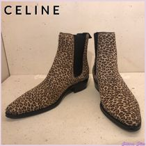 CELINE Leopard Patterns Plain Toe Casual Style Unisex Block Heels