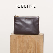 CELINE Trio Bag Leather Clutches