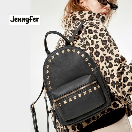 Casual Style Faux Fur Studded Street Style Backpacks