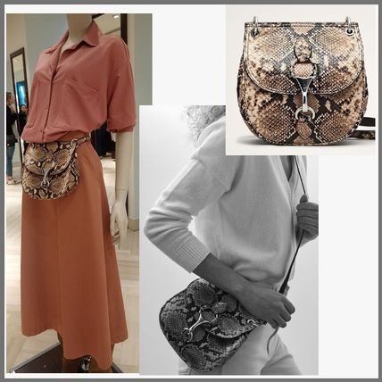 Casual Style Leather Python Shoulder Bags
