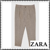 ZARA Printed Pants Other Check Patterns Patterned Pants