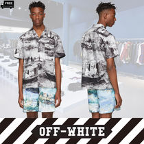 Off-White Button-down Cotton Short Sleeves Handmade Shirts