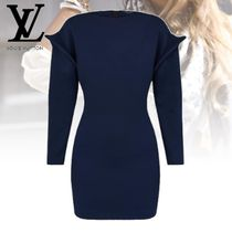 Louis Vuitton Short Long Sleeves Plain Cotton Dresses