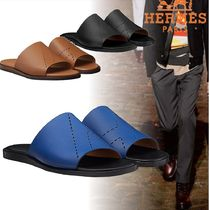 HERMES Blended Fabrics Street Style Bi-color Leather Shower Shoes