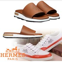 HERMES Blended Fabrics Street Style Leather Shower Shoes