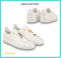 Louis Vuitton Plain Toe Rubber Sole Lace-up Casual Style Blended Fabrics