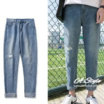 Tapered Pants Denim Street Style Plain Tapered Pants
