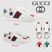 GUCCI Ace Plain Toe Rubber Sole Casual Style Leather Low-Top Sneakers