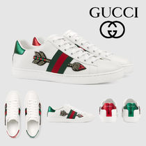 ed39e49447f GUCCI Ace Plain Toe Rubber Sole Casual Style Leather Low-Top Sneakers
