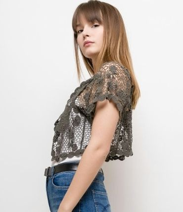 Casual Style Plain Cotton Short Sleeves Party Style Lace