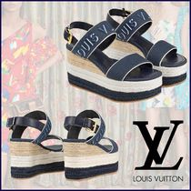 53b46b7fb73 Louis Vuitton Open Toe Blended Fabrics Bi-color Plain Elegant Style