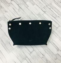 CELINE Suede Studded Street Style Plain Pouches & Cosmetic Bags