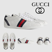 1a52f05b619 GUCCI Stripes Plain Toe Casual Style Leather Low-Top Sneakers
