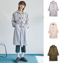 OPEN THE DOOR Unisex Street Style Plain Long Oversized Trench Coats