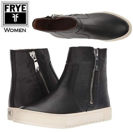 Casual Style Leather Flat Boots