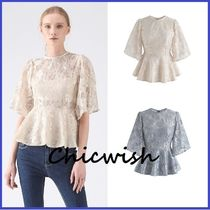 Chicwish Flower Patterns Peplum Cropped Medium Lace Elegant Style