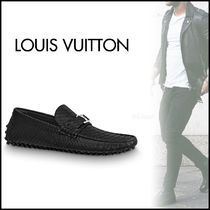 Louis Vuitton Plain Toe Loafers Blended Fabrics Street Style Leather