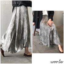 Flared Skirts Leopard Patterns Casual Style Cotton Long Midi