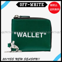 Off-White Stripes Unisex Blended Fabrics Leather Folding Wallets