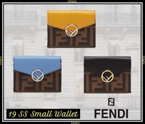 FENDI Unisex Street Style Leather Folding Wallets