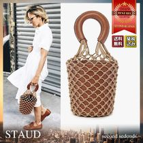 STAUD Blended Fabrics Plain Leather Dark Brown Straw Bags