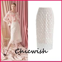 Chicwish Pencil Skirts Blended Fabrics Long With Jewels Elegant Style
