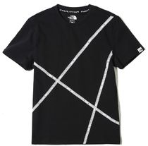 THE NORTH FACE Unisex Street Style U-Neck Cotton Logo T-Shirts