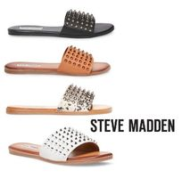 Steve Madden Open Toe Rubber Sole Casual Style Street Style Plain Leather