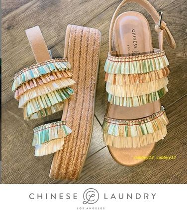 Open Toe Casual Style Street Style Plain Sandals