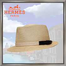 HERMES Blended Fabrics Straw Hats