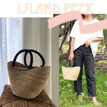 Vanity Bags A4 Bi-color Plain Leather Handmade Straw Bags