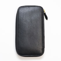 IL BISONTE Unisex Plain Leather Handmade Long Wallet  Logo Long Wallets