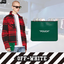 Off-White Plain Leather Handmade Clutches