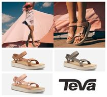Teva Open Toe Rubber Sole Blended Fabrics Plain Leather