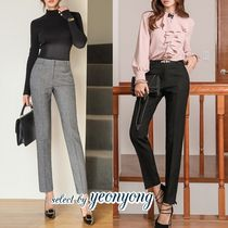 Plain Medium Office Style Cropped & Capris Pants