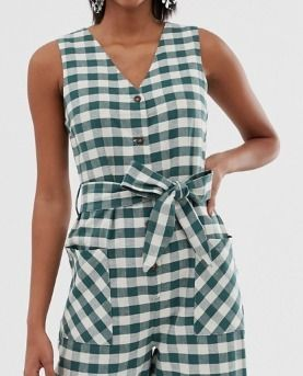 Gingham Casual Style Sleeveless V-Neck Long Dresses