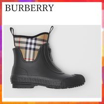 Burberry Other Check Patterns Rubber Sole Flat Boots