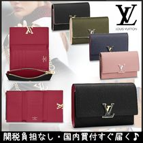 Louis Vuitton CAPUCINES Plain Leather Folding Wallets