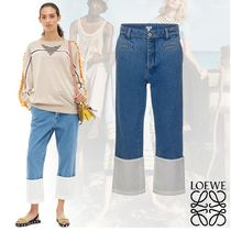 LOEWE Plain Cotton Medium Midi Cropped & Capris Pants