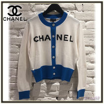 CHANEL Short Cashmere Bi-color Long Sleeves Elegant Style