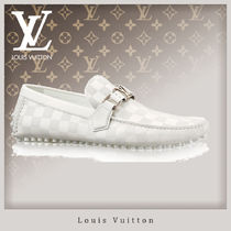 Louis Vuitton DAMIER Driving Shoes Leather Loafers & Slip-ons
