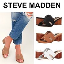 2ad13efdcab8 Steve Madden Open Toe Casual Style Plain Leather Block Heels Sandals