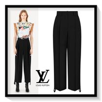 Louis Vuitton Wool Plain Long Oversized Elegant Style Wide Leg Pants