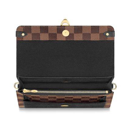 Louis Vuitton Long Wallets Other Check Patterns Canvas Blended Fabrics Bi-color Chain 5