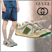 GUCCI Stripes Unisex Blended Fabrics Chain Sneakers