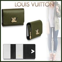 Louis Vuitton EPI Blended Fabrics Bi-color Plain Leather Khaki Folding Wallets