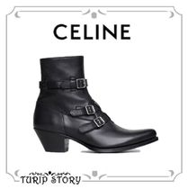 CELINE Plain Leather Engineer Boots