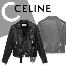 CELINE Short Leather Biker Jackets