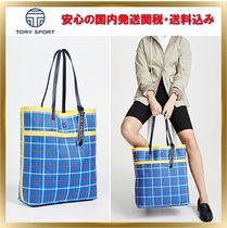 TORY SPORT Other Check Patterns Casual Style A4 Plain Totes