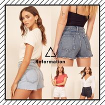REFORMATION Short Casual Style Denim Street Style Plain